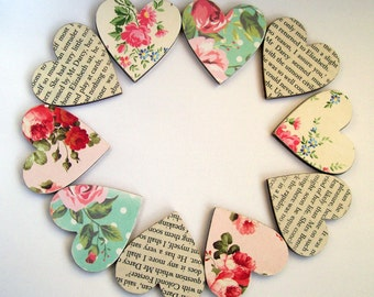 10 Jane Austen Pride and Predudice book text & floral small wood hearts pink teal cream wedding favours decor embellishment card making