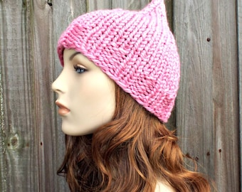 Bubble Gum Pink Gnome Hat Pink Elf Hat - Pink Womens Hat Pink Hat Pink Beanie Pink Knit Hat Womens Accessories Winter Hat