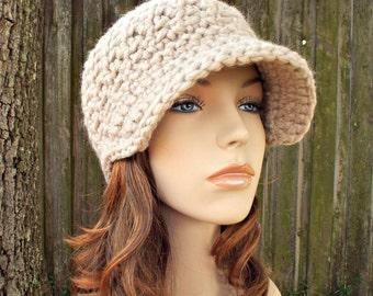 Linen Cream Newsboy Hat Crochet Hat Womens Hat - Jockey Cap Cream Hat Cream Beanie Crochet Newsboy Hat - Womens Accessories - READY TO SHIP