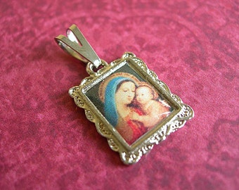 Madonna and Child religious medal resin frame setting with bail silver lot of 1
