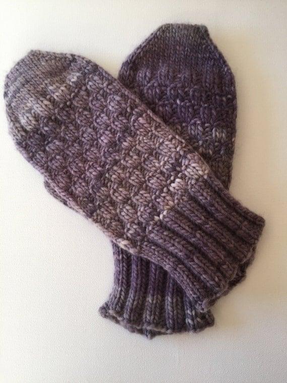 Woolen Handknitted Mittens Purple Large