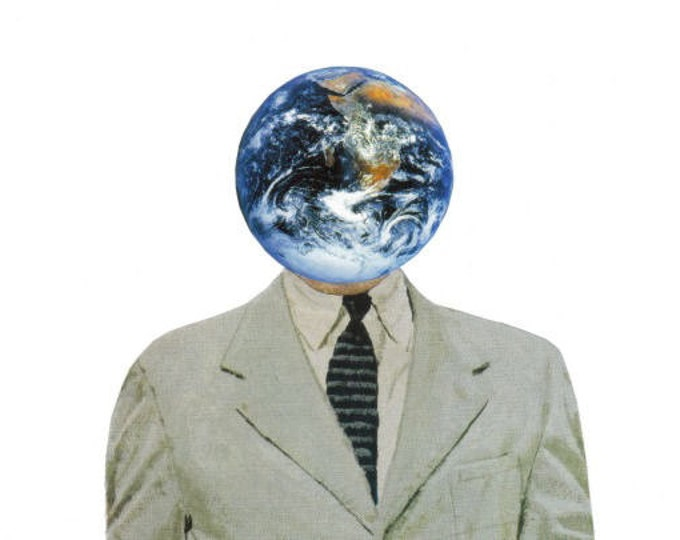 Planet Earth Art, Earth Day Artwork, Original Collage