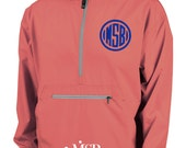 Lightweight Pullover - Wind and Water-resistant Jacket - coral pullover hoodie - sorority - game day apparel - college - custom monogrammed