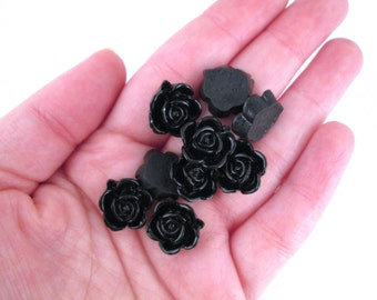 10 15mm Black Rose Cabochons, Black Flower Cabochons