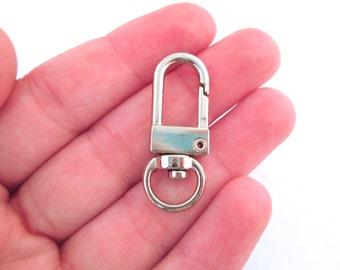 5 silver tone swivel keyring clasps, C22