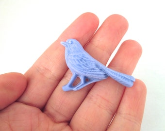Periwinkle blue resin bird cabochons, vintage style resin cabs