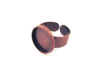 14mm copper adjustable bezel ring blanks with an open back, A92