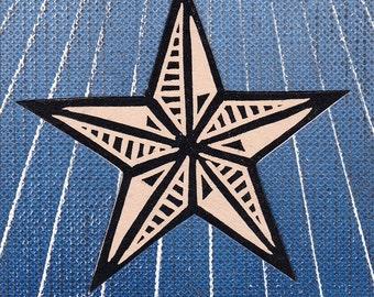 Star Linocut Print Card Art Gift Stocking Stuffer ACEO