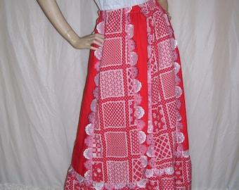 Red White Valentine's Day Maxi Skirt Unique Hippie Aline Skirt Boho Red Valentines Party Skirt Scallop Trim Vintage Vtg Adult S M