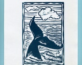 Whale Block Print, Maui Whale, Humpback Whale Linoleum Print