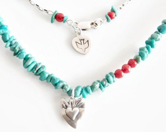 Natural Turquoise Nugget Necklace, Sterling Silver Personalized Necklace, Turquoise and Coral Charm Necklace, 18 inches