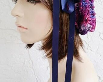hand crochet Tam rasta beanie Hat ~ chic slouch ~ navy magenta mix  - made to order