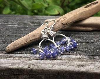 Genuine Tanzanite Gemstone Sterling Silver Earrings, Cluster Dangle, December Birthstone, Handmade Jewelry, Real Tanzanite Gemstone, Purple