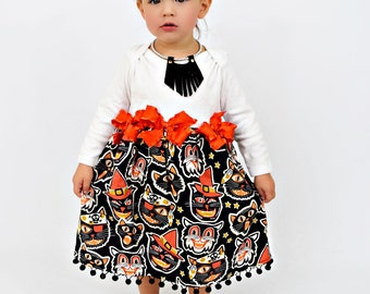 Halloween Party Dress - Girl Party Dress - Halloween Cat Toddler - Spooky Cat Dress - Girl Halloween - 6 month to Girls 8 - Trick or Treat