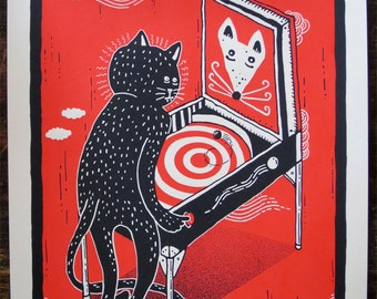 Cat and Mouse Pinball - 9x12""