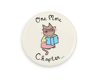 Book Lover Gift Nerdy Cat Magnet Mirror or Pinback Button Reading Cute Pin