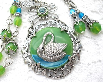 Swan Lake Glass Button Necklace and Earring Set - Antiqued Silver