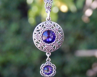 Circle Pendant- Antiqued Silver and Swarovski Crystal (N-144)