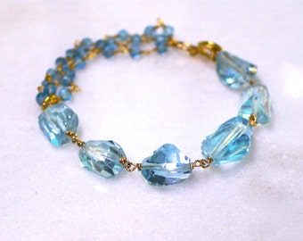 AAA Swiss Blue Topaz Faceted Nugget Hand Linked Bracelet in Gold Vermeil...