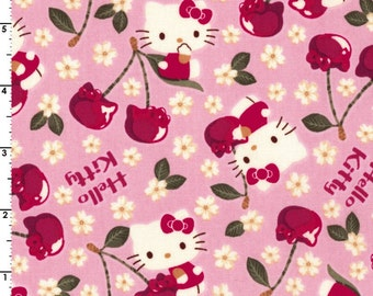HALF YARD Kokka - Hello Kitty - Cherry Land 8032-1A - PINK Colorway - Sanrio, Daisy, Cherry, Flower - Japanese Import