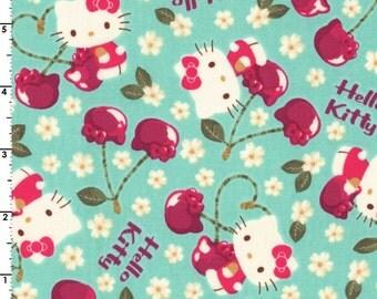 HALF YARD Kokka - Hello Kitty - Cherry Land 8032-1B - AQUA Colorway - Sanrio, Daisy, Cherry, Flower - Japanese Import