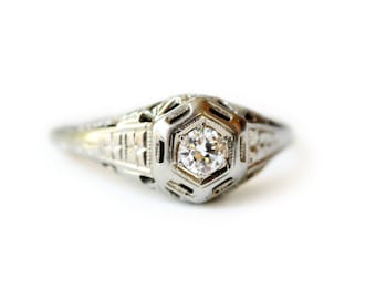 Antique Art Deco Engagement Ring - Vintage Filigree Diamond Ring - 18k White Gold and Diamond Ring - Recycled Gold Ring