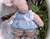 Knit Mohair Bunny Doll, Hand Knit, One of a Kind, Stuffed Rabbit Doll, Collectible