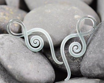 14G   Ice Seaglass   Mini Squids   Gauged Glass Body Jewelry for Stretched Piercings by Glassheart