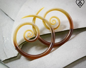 14G - 0G | Beryl Seaglass | Spirals | Gauged Glass Body Jewelry for Stretched Piercings by Glassheart - Made with Love in Portland Oregon