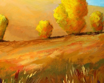 Original Landscape Painting, 11x14 Canvas, Acrylic Country Scene, Trees, Golden Field, Yellow, Brown Prairie Meadow, Autumn Fall Wall Decor
