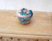 Retro Mod Cotton Basket with Celtic Knot Embellished Lid - Multicolored White Blue Ring Box - Unique Handmade Decorative Hostess Gift STB039