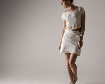 Wrap skirt, Cotton skirt, White skirt, Jersey skirt, Womens clothing, Pencil skirt, Maternity skirt, plus size clothes, Mini skirt, tank top