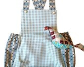 Vintage Style Handmade Romper Playsuit Sunsuit, blue, size newborn to 2 years
