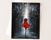Halloween Art Card - Dark Fairytale Fantasy - Little Red Riding Hood - Greeting Card Size A2 - Unqiue Adult Halloween Cards