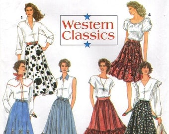 Simplicity 8193 WESTERN COWGIRL RODEO Multi Gore Skirts Sizes 6 - 8 - 10 ©1992