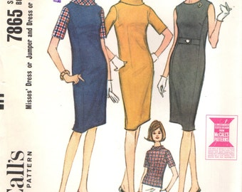 McCall's 7865 Sheath Dress, Jumper, Blouse ©1965
