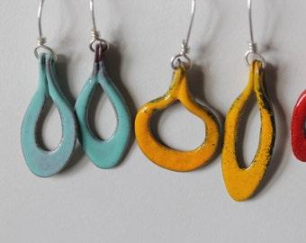 Colorful Yellow Waterdrop Asymmetrical Earrings - Glass Enamel  OOAK