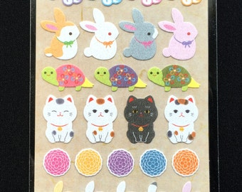 Japanese Washi Paper Stickers - Chiyogami Stickers  - Lucky Cat Stickers - Traditional Japanese  Stickers - Animal Stickers (S95)