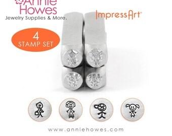 Impressart Metal Stamp Set  - Stick Figure Family Set of Four Design Stamps