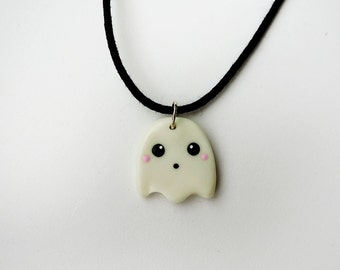 Kawaii Halloween Glow in the Dark Ghost Necklace