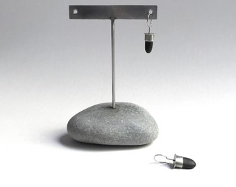 Post or Ear Wire Earring Display T Rack Holder Natural Lake Erie Beach Stone Stainless Steel Rock Jewelry Stand a