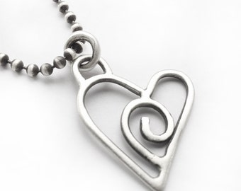 Sterling Silver Heart Pendant Necklace Valentine's Day Love Swirl <3