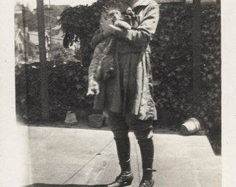 vintage photo 1916 Teen Girl Holds Kitty CAt Named Baby