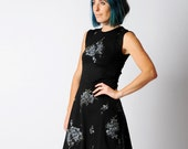 Little black dress, Womens sleeveless black floral dress with sparkly details - sz UK 12 or custom