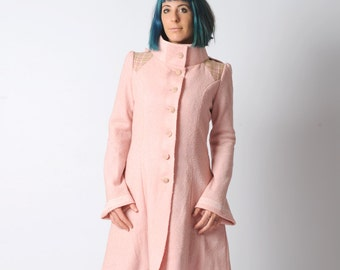 Pink hooded coat, Pale pink pointy hooded coat in vintage wool and plaid, womens winter coat, Flared pink womens coat sz UK 10