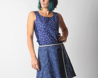 Blue assymetric skirt, Swirly blue denim short skirt, Blue womens skirt with back pleats, sz UK 12