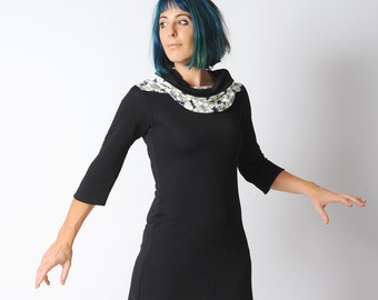Black and white jersey tunic with wide cowl, black tunic with raised dots and checkered jersey, any size