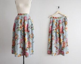 floral linen skirt / floral skirt / linen midi skirt