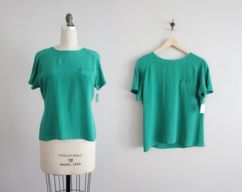 green silk tee / silk blouse / silk shirt