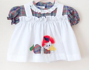 Vintage Baby Girl Pinafore Dress / Nannette Plaid Raggedy Ann Dress / Baby Girl Apron Dress